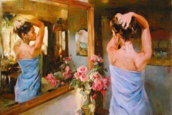 Женщина перед зеркалом. Картина художника